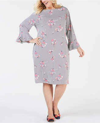 Charter Club Plus Size Printed Ruffled-Sleeve Dress