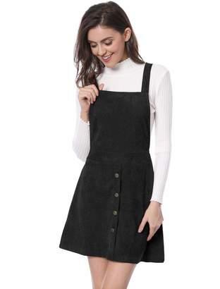 Allegra K Women's Straps Button Decor A-line Corduroy Skirt Overall Dress M