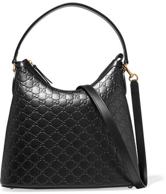 Gucci - Linea A Hobo Embossed Leather Shoulder Bag - Black $1,850 thestylecure.com