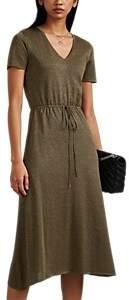 Barneys New York Women's Metallic Silk-Blend V-Neck Sweaterdress - Olive