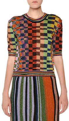 Missoni Crewneck Short-Sleeve Multicolor Knit Top