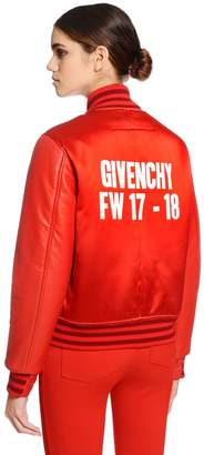 Givenchy Duchesse Satin & Leather Bomber Jacket