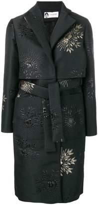 Lanvin embroidered detail belted coat