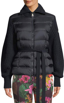 Moncler Mixed-Media Zip-Up Puffer Cardigan