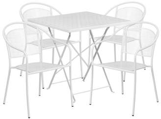 "Flash Furniture 28"" Square Indoor-Outdoor Steel Folding Patio Table Set with 4 Round Back Chairs, Multiple Colors"