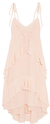 Ulla Johnson - Emilia Lace-trimmed Ruffled Silk Dress - Blush $575 thestylecure.com