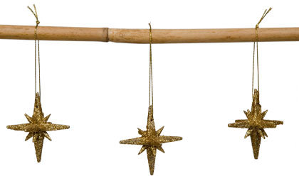 Set Of 6 Gold Star Ornaments