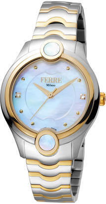 Ferré Milano Women's 34mm Stainless Steel 3-Hand Inlay Watch with Bracelet, Golden/Steel