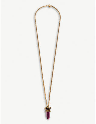 Alexander McQueen Iris brass and crystal charm necklace