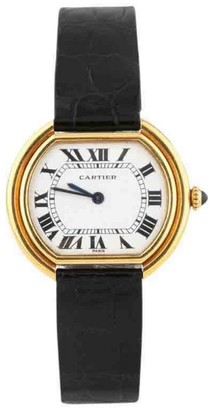Ellipse 18K Yellow Gold With Leather Strap & Buckle Womens Watch