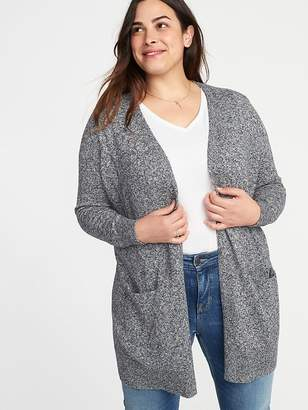 Old Navy Marled Long-Line Plus-Size Open-Front Sweater