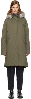Yves Salomon Army Green Down and Fur Parka