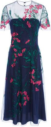 Carolina Herrera Floral-Embroidered Tulle Midi Dress