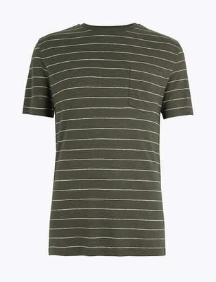 Marks and Spencer Linen Blend Striped T-Shirt
