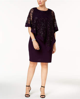 R & M Richards Plus Size Sequined Lace Cape Dress