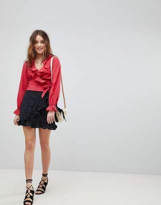 Glamorous Mini Wrap Skirt In Polka Dot