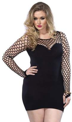 Leg Avenue Women's Plus Size Seamless Mini Dress with Diamond Net Bodice and Sleeves, Black, One Size