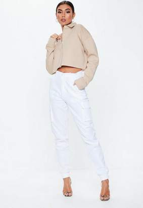 Missguided Sand Cropped Long Sleeve Sweatshirt, Sand