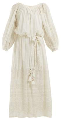 Mes Demoiselles Offrande Gathered Detailed Cotton Dress - Womens - Ivory