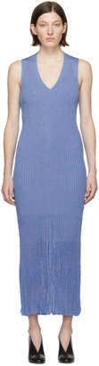 Victoria Beckham Blue Ribbed V-Neck Dress