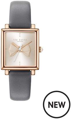 Ted Baker Rose Gold And Pink Bow Square Dial Grey Leather Strap Ladies Watch