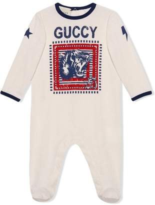 Gucci Kids Baby sleepsuit with Guccy print