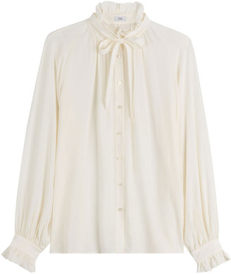Closed Tie Neck Silk Blouse