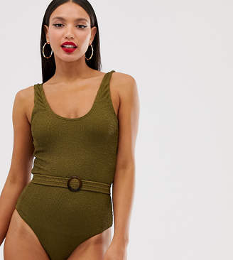 Y.A.S Tall textured belted highleg swimsuit