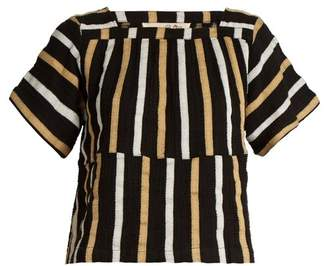 Ace&Jig Vista square-neck striped textured-cotton top