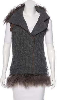 Brunello Cucinelli Fur-Trimmed Cashmere Vest
