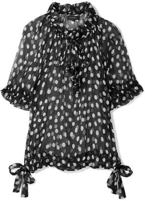 Lee Mathews - Mansfield Ruffled Polka-dot Crinkled Silk-georgette Blouse - Black