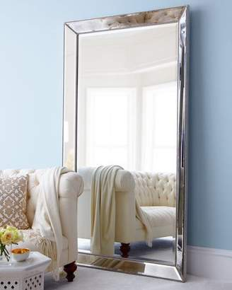 Vince Antiqued-Silver Beaded Floor Mirror