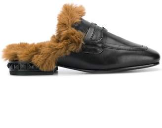 Ash fur-lined slippers