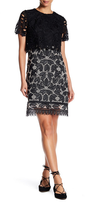 Anna SuiAnna Sui Falling Leaf Lace Short Sleeve Dress