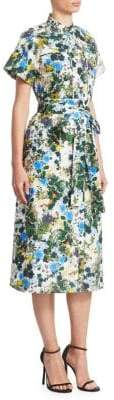 Erdem Carlita Short Sleeve Midi Shirt Dress