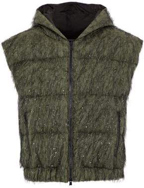 Brunello Cucinelli Tinsel-Embellished Cotton-Blend Shell Hooded Vest