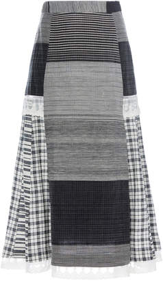 Rahul Mishra Cotton And Silk-Blend Plaid Skirt