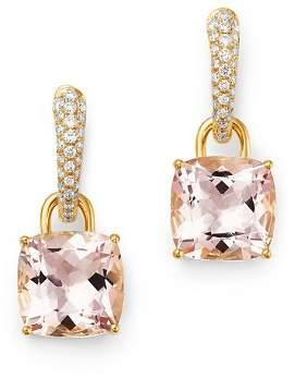 Kiki McDonough 18K Yellow Gold Classics Cushion-Cut Morganite & Diamond Drop Earrings
