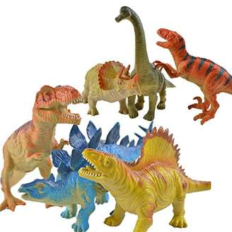 Generic Rubber Simulation Animal Cartoon Dinosaur Models 6pcs Set, 16-18cm, Random 6 PCS PACK