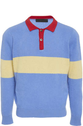The Elder Statesman M'O Exclusive Rugby Stripe Cashmere Collared Shirt
