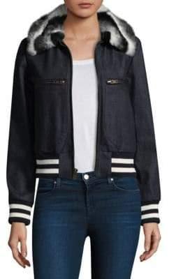 Harvey Faircloth Faux Fur Collar Bomber Jacket