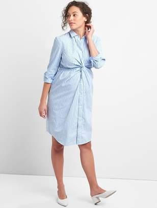 Gap Maternity Stripe Shirtdress with Twist-Knot Detail