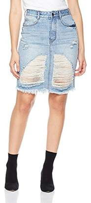 Parker Lily Women's Button Down Ripped Hole Denim Skirt