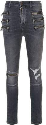 Unravel Project zip-detail distressed skinny jeans