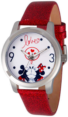 EWatchFactory Women Disney Mickey And Minnie Mouse Red Strap Watch 38mm