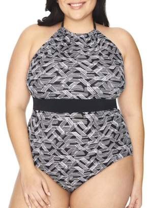 526ce9673896c Time and Tru Women's Plus Size Print High Neck One Piece Swimsuit