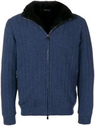 Corneliani fur lining cashmere bomber jacket