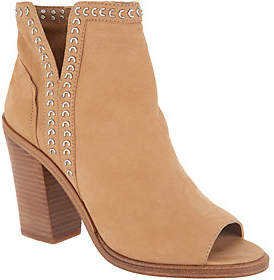 Vince Camuto Leather Peep-Toe Ankle Booties -Kemelly