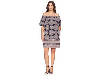 Maggy London Spinning Wheel Printed Off The Shoulder Shift Women's Dress