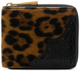 Versace perforated-detail leopard print wallet